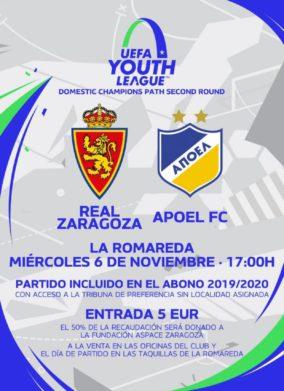 Cartel partido entre el Real Zaragoza y el Apoel FC
